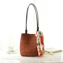 4 Color Women's Bag Beach Woven Bags For Summer Travel Womens Designer Shoulder Bag Ladies Knitting Women straw bag Handbags(China)