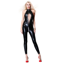 Buy Hot Sexy Lingerie Women Temptation Erotic Catsuit Latex Bodysuit PVC Nightwear Babydoll Open Crotch Club Rompers Catsuit 2018