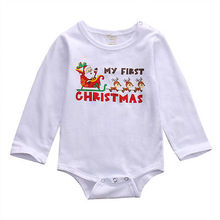 Christmas sled long-sleeved clothes Newborn Kids Baby Boy Girl Infant Romper Jumpsuit Clothes Outfit Set