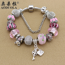 AODUOLA Best Selling Teddy Bear beads Pink Crystal Charms jewelry wholesale fit Charm bracelet free shipping Making B15163