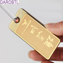 The new creative ultra-thin lock USB rechargeable electronic cigarette lighter design of Chinese idioms lighter creative gifts
