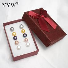 YYW Women's Jewelry 8-9mm 5Pairs Natural Mixed White Pink Black Grey Yellow Dome Pearl with Box Freshwater Pearl Stud Earrings