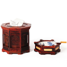 Multipurpose rose wood mahogany antique imitation crafts decoration wood carving tissue box ashtray cigarette gifts box set(China)