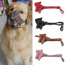 Puppy Dogs Leather Muzzle Pet Adjustable Dog Muzzle Prevent Bite Dog Mouth Mask Cute
