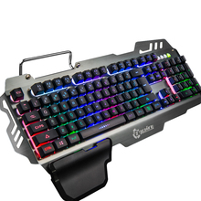 7pin PK-900 Gaming Keyboard RGB Backlight Mechanical Feel Computer Keyboard with Tablet Phone Holder Wrist Rest for overwatch PC(China)