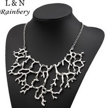 Rainbery Costume Jewelry Ethnic Gothic Punk Retro Antique Tone Glazed Fake Twisted Branch/root Chunky Collar Necklace Women