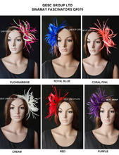 Smaill Feather Sinamay Fascinator Hat for wedding,Kentucky Derby,ascot races.red,coral,ivory,hot pink/beige,royal blue,purple.