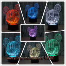 new 2017 3D Mickey Mouse Kid LED Night Light Cartoon LED Lamp Night Light 3D illusion Lamp Birthday Christmas Child Light Gift