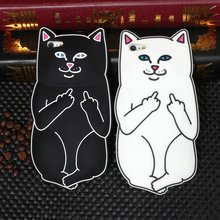 "Popular 3D Cat Case For Apple iphone 7 6 6S 5.5"" 6 6S 7 4.7"" 5 5S SE Back Cover Soft Silicon Cute Cartoon Rubber Middle Finger"