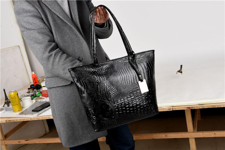Brand Fashion Casual Women Shoulder Bags Silver Gold Black Crocodile Handbag PU Leather Female Big Tote Bag Ladies Hand Bags Sac 4