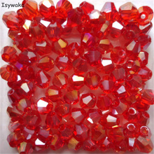 Isywaka Popular Sale Red AB 200pcs 4mm Bicone Austria Crystal Beads charm Glass Beads Loose Spacer Bead for DIY Jewelry Making