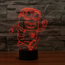 7 color changing touch lamp small yellow people 3D light colorful LED visual light gift atmosphere table lamp light IY803409