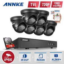 ANNKE 8CH 1080N TVI P2P DVR 6x 1500TVL IR In/Outdoor Security Camera System CCTV Surveillance Kit 1TB Hard Drive
