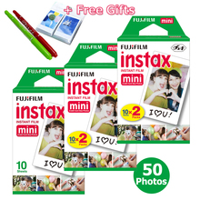 50 sheet White Fujifilm Instax Mini 8 film + Free Gift one Album & 2 Drawing Pens for Fujifilm Instant Mini 7s 25 50s 90 Camera