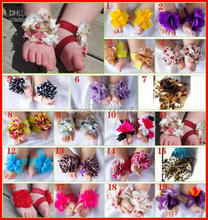 BABY Sandals baby Barefoot Sandals Foot Flower Foot Ties girls Toddler Flowers Crochet Shoes 20pairs/lot Melee(China)