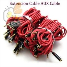 red 3.5mm Jack Aux Audio Cable Male to Female Audio Extension Cable Cord Gold Plated Auxiliary Cable 1.2m For monster 100pcs/lot(China)