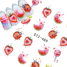1Sheet Fruit/Lollipop/Ladybug Nail Art Stickers Water Transfer Nail Tips Decals Charm DIY Designs Manicure Decoration BESTZ489