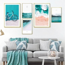 Nordic Blue Ocean Composite Painting Canvas Paintings Modular Pictures Wall Art Canvas for Living Room Decoration No Framed(China)