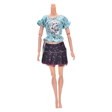 1Set/2 Pcs Handmade Print Skirt Set For Barbie Lovely Doll Puff sleeve T-shirt +Mini Skirt Girls Gifts