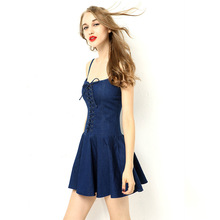 Woman Sexy A Line Noddles Straps Tunic Bandage Jeans Dress Femme Vintage Backless Boat Neck Ruffles Hem Retro Club Dress HCH410