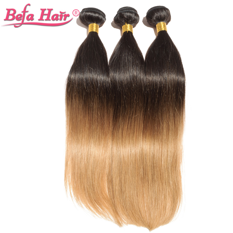 3pcs/lot ombre hair extensions Dyed grade 6A virgin hair free shipping free shedding 1b-27# straight hair<br><br>Aliexpress