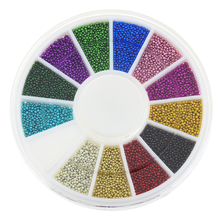 Blueness 12colors Mixed Glitter Beads for 3D Nail Art Jewelry Charms Nails Manicure Decorative Accessories Stud ZP206