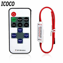 ICOCO 12V RF LED Strip Light Mini Wireless Switch Controller Dimmer with Remote Control Mini In-line LED Light Controller/Dimmer