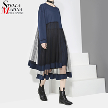 2017 Designer Women Dark Blue Midi Dress Long Sleeved Layered Mesh Stitching Individuality Cute Style Evening Party Dresses 2906(China)