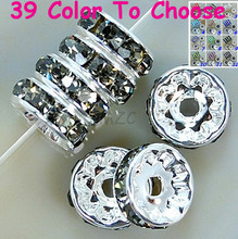 Cheap10mm!Min.$15 Mixed Order+Free Shipping+Gift.Gray Crystal Rhinestone Rondelle Spacer, Silver Plated DIY Loose Beads.
