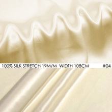 "SILK STRETCH SATIN Fabric 19mm Width 42""-108cmNatural Silk Fabric Lycra Fabric Factory Wholesale 5Meters/Lot champagne NO 04"