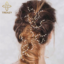 TREAZY 2PCS Elegant Bridal Wedding Crystal Pearl Flower Hair Pins Handmade Bridesmaid Bridal Veil Jewelry Hair Accessories