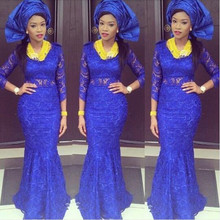 Royal Blue Nigerian Style Evening Dresses African Mermaid Women 2017 Aso Ebi Plus Size Long Sleeves Lace Prom Party Gowns