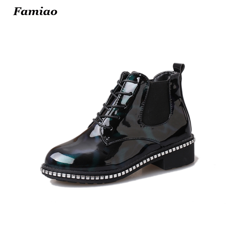 Botas Mujer 2017 Oxfords Shoes For Women Ankle Patent boots Fashion Autumn winter Chelsea Matin shoes woman<br><br>Aliexpress