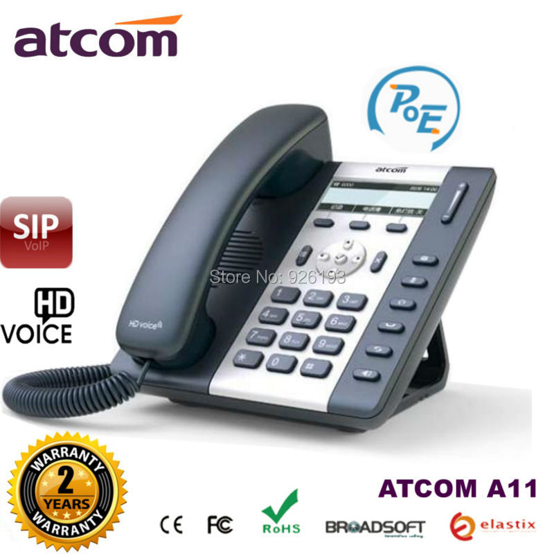 ATCOM A11 POE 1 SIP Line Entry-level business IP Phone Dual core CPU, HD voice, backlight LCD Desktop office VoIP telephone(China)