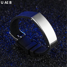 Fashion Men Bracelet Silicone Men's Hand chain Bracelet Charm And Black Silicone Sports Wristband Bracelets For Men Jewelry(China)