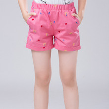 2017 teenager girls shorts trouser summer cotton children's shorts printed kids shorts for girls teenagers casual pants 4-16T