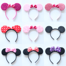 Mickey Minnie Ears Baby Girls Cloth Hair Hoop Fashion Princess Hair Clasp Children Hairbands Bow Cute Headwear Girls Accessories(China)
