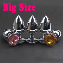 Big Metal Anal Plug Sexy Crystal Jewelry Large Stainless Steel Butt Plug Anus Sex Toys for Women Men Erotic Sex Products Shop(China)