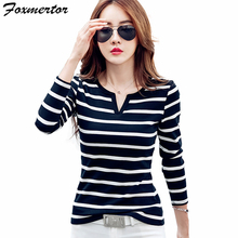 Foxmertor T-shirt Women 2017 Autumn Cotton Female T Shirts V-Neck Solid Striped Tops Casual Basic Lady Tees Plus Size 3XL F600(China)
