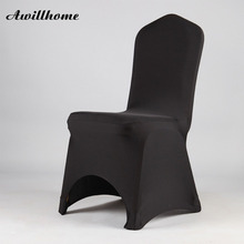 Awillhome free shipping 50 pcs BLACK lycra spandex chair cover for wedding party decor(China)