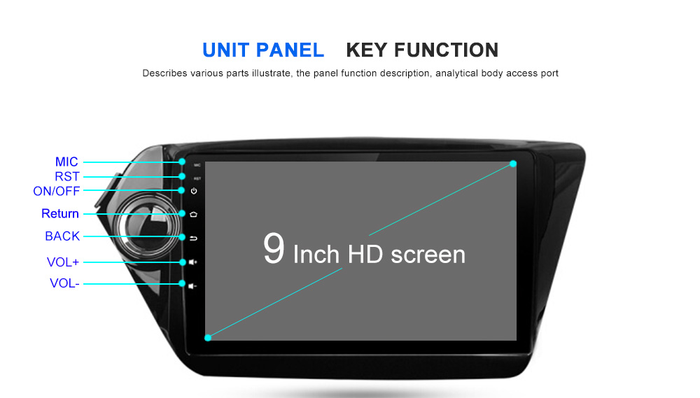 Dasaita 9 Android 7.1 Car GPS DVD Player Navi for Kia K2 Rio with 2G+16G Quad Core Auto Stereo Radio Bluetooth Multimedia HDMI