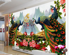 beibehang Fine exquisite senior wallpaper jade carved peacock Nafu TV backdrop decorative painting papel de parede 3d wallpaper(China)