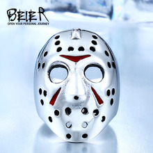 BEIER New Halloween Men Ring 316L Stainless Steel Biker Jason Voorhees Hockey Mask with red colour Antique Men Jewelry BR8-461(China)