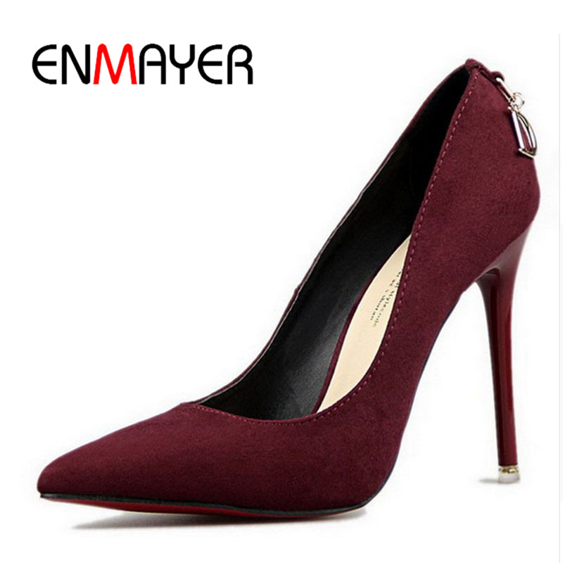 ENMAYER Shoes Woman Five Colors Plus Size 34-43 Fashion High Heels Women Pumps High Heels Classic White Red Sexy Wedding Shoes<br><br>Aliexpress