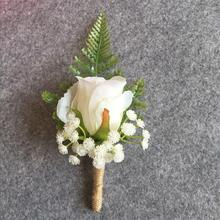 Artificial Flower Buttonhole Groom Boutonnieres Best Man Wedding Flowers Bouquet Accessories Pin Party Suit Decoration(China)