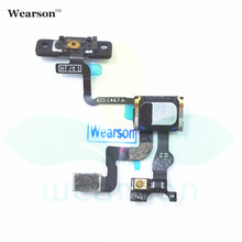 For iPhone 4S Power ON OFF Button Key Flex Cable With Light Sensor 4s Speaker Receiver Free Shipping With Tracking Number(China)