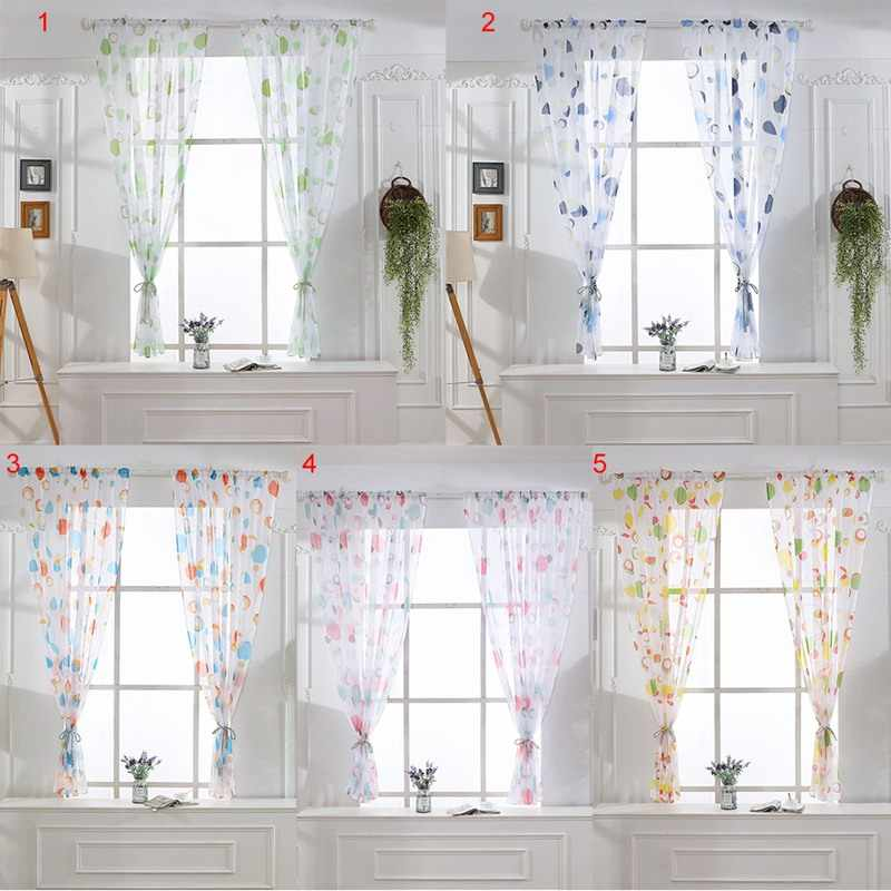 2PCs/set Tulle Curtains Printed Kitchen Decorations Window Treatments American Living Room Divider Sheer Voile Curtain