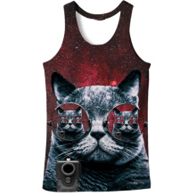 Cloudstyle 2018 Fashion 3D Tank Tops Men Conventional Sleeveless Vest Cute Sunglass Cat 3D Print Bodybuilding Active Funny(China)
