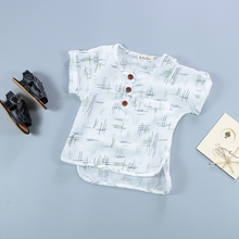Summer Baby Boys Shirts Casual Short Sleeve Tops Baby Linen Shirts Cotton Line Printed Children Infant Boys Tops Buttons T shirt