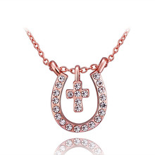 1 Pc Lucky Rhinestone cross Horse Hoof Horseshoe Pendant Necklace Jewellery  rose gold colour jewelry for Women gift